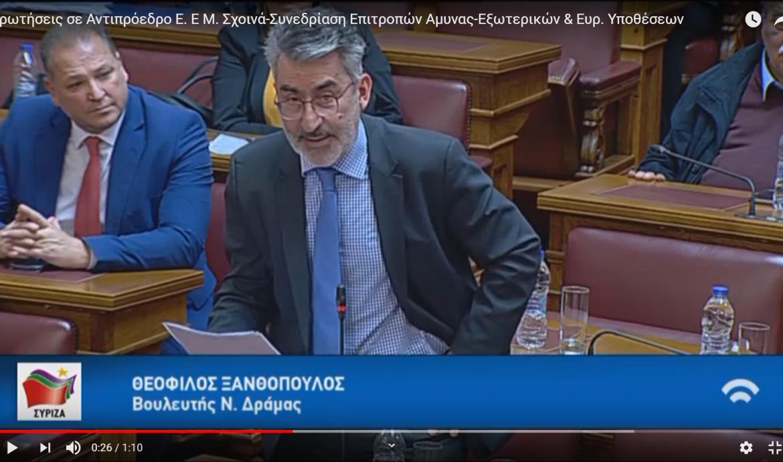 Ερωτήσεις σε Αντιπρόεδρο της Ε. Επιτροπής Μ. Σχοινά κατά την κοινή συνεδρίαση των Επιτροπών Αμυνας- Εξωτερικών & Ευρωπαϊκών Υποθέσεων