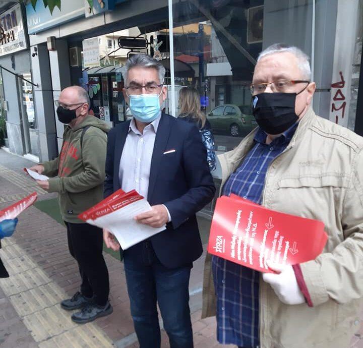Συμμετοχή στην καμπάνια του ΣΥΡΙΖΑ για τον συνωστισμό στα ΜΜΜ-Διανομή φυλλαδίων σε πολίτες