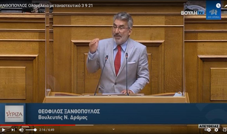 Θ. Ξανθόπουλος: Η ΝΔ μεταλλάσσεται σε κόμμα της σκληρής, βαθιάς δεξιάς